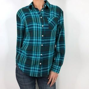 A New Day Blue Green Plaid Flannel Button Down